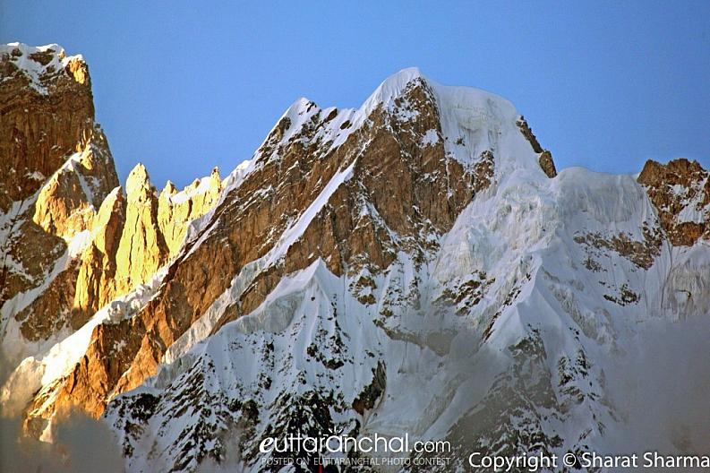Sunset at snow covered Kedar and Kedar dome peaks Kedar