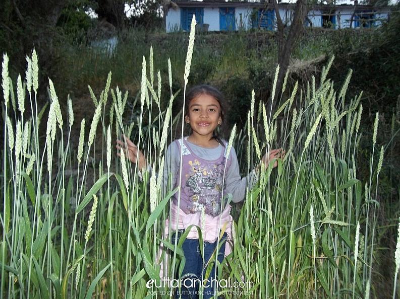 City child enjoying in her village