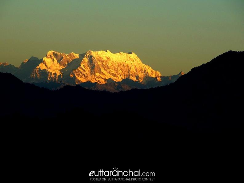 A rare view of Chaukhamba
