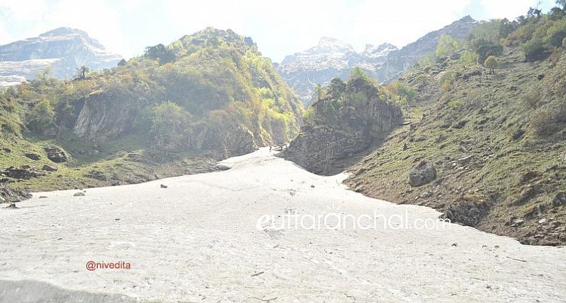 Glacier flowing down