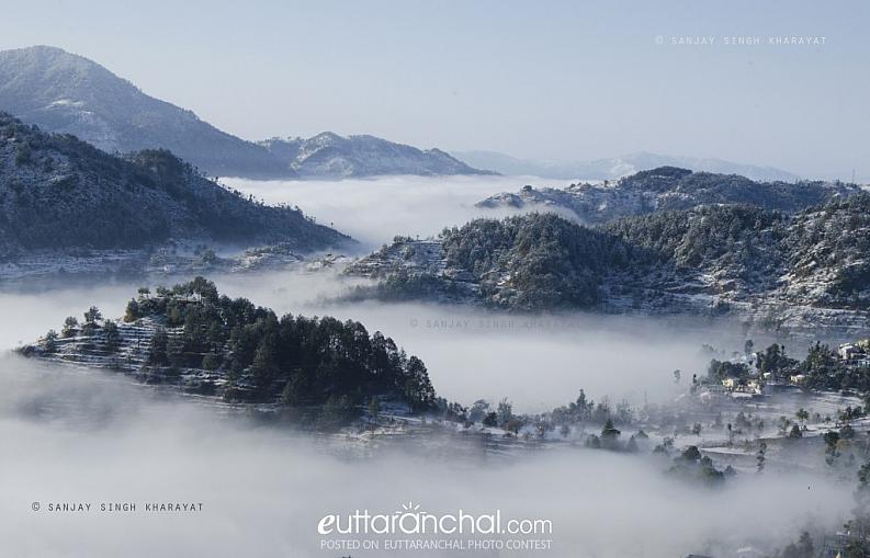 a beautiful snowy, misty morning