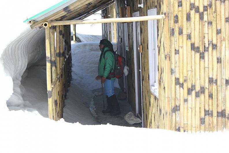 Under a Hut