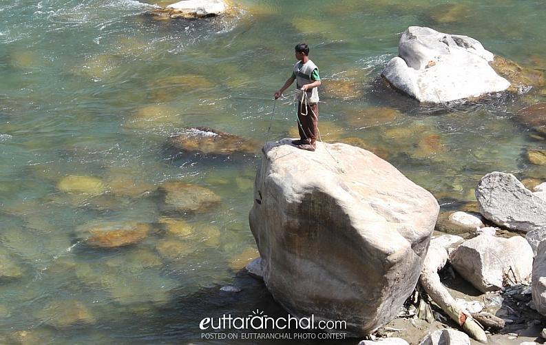 Fishing at Karanprayag