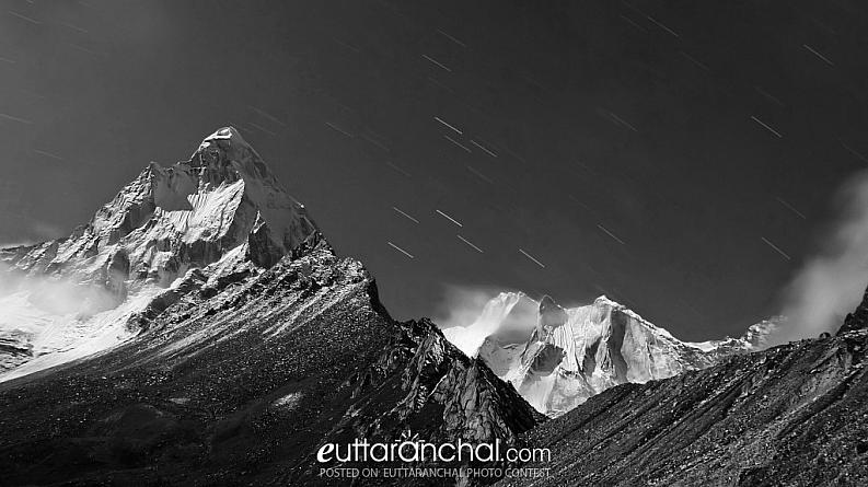 Mt Shivling at Moonlight