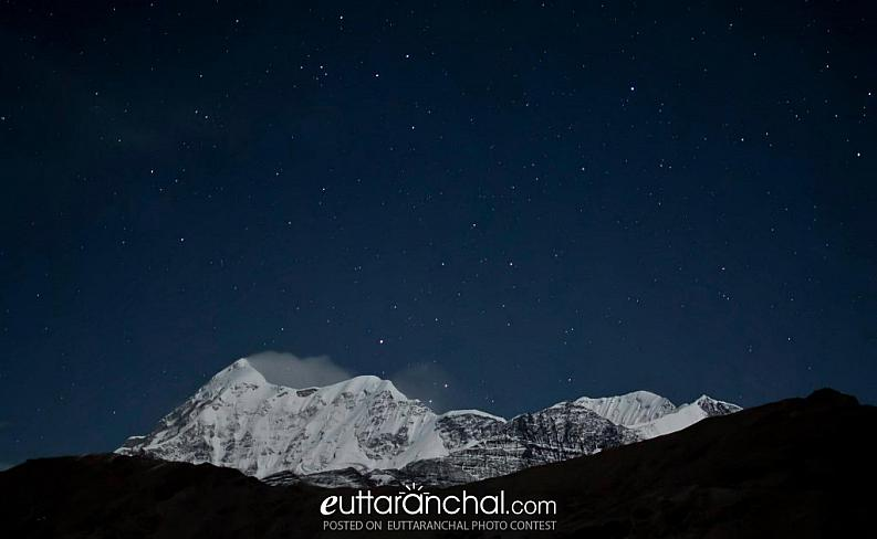 Trishul glowing in moonlight