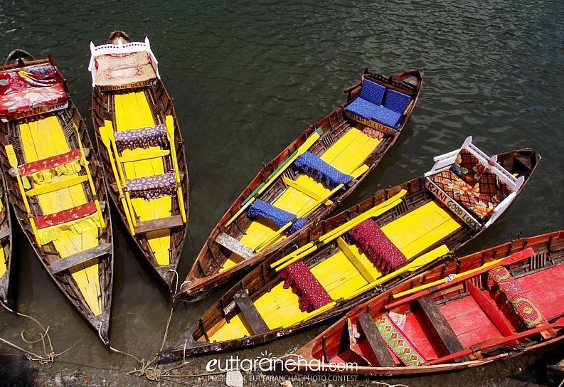 Moored boats by the Naini Lake