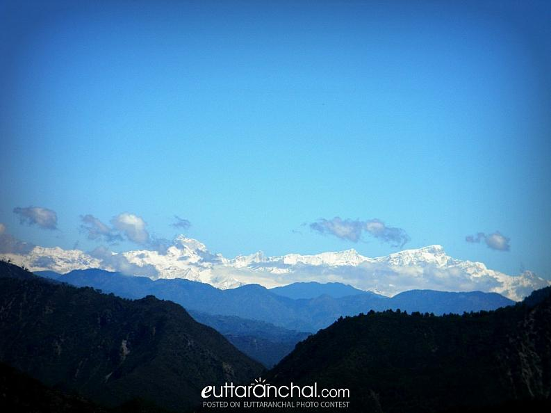 View of snow capped mountains in Uttarakhand