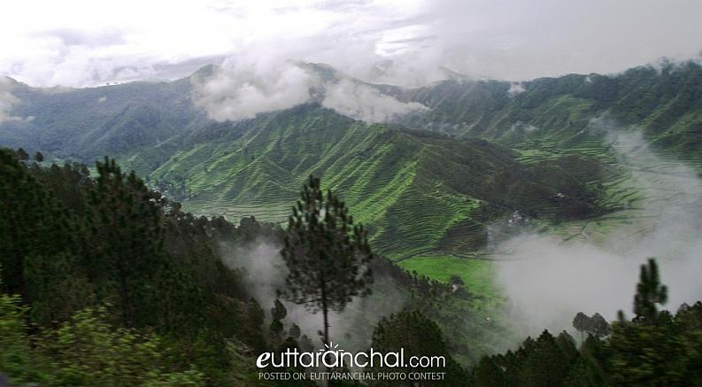 The beauty of the green hills and the floating clouds