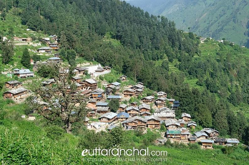 Beautiful View of Traditional Village at Uttarkashi