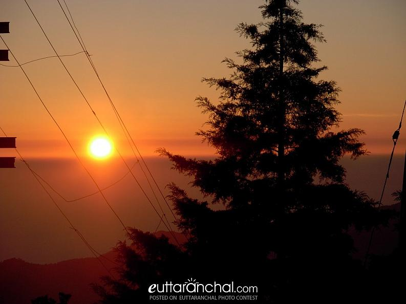 sunset at lansdowne, uttarakhand