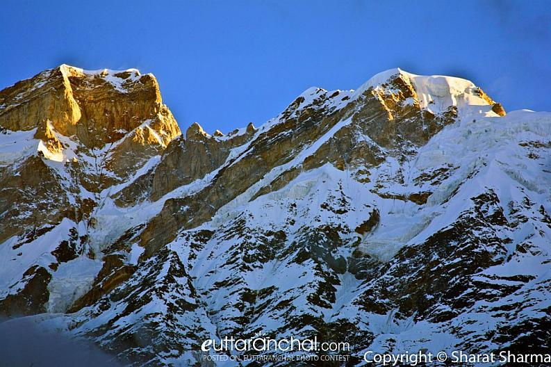 Snow covered Kedar and Kedar dome peaks