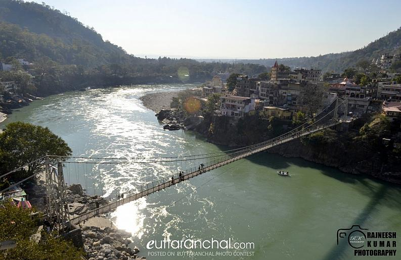 Aerial view of Lakshman Jhula