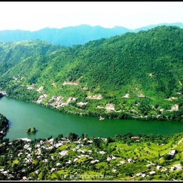 कर्कोटक की पहाड़ी से भीमताल झील का विहंगम दृश्य