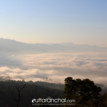 Rishikesh covered by Fog