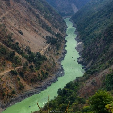 Flow of River Ganges from the heights of the Himalayas