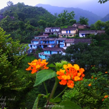 Village and nature combine and makes beauty