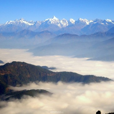 himalayan range coverd with fog
