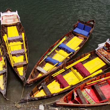Moored boats by the Naini Lake