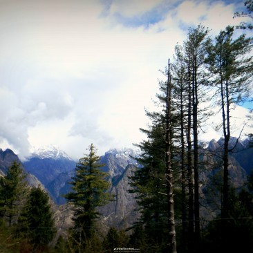 Breathtaking view of the mountains near Auli at the time when the snow starts to melt.