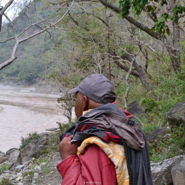 Saryu River from behind a local passersby