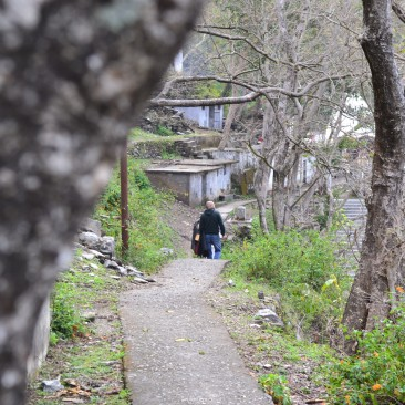 Path to the Shiv Temple at the meeting point of Mahakaali and Saryu River.
