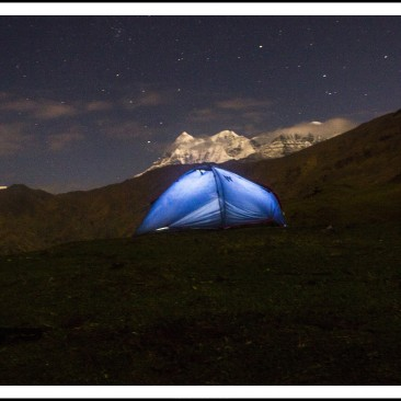 A home away from worries of life. Tent at Bedni with trishul at background