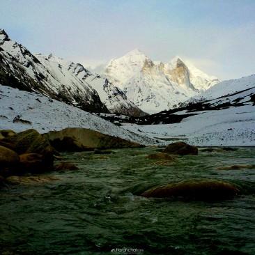 Bhagirathi River and Bhagirathi Peaks