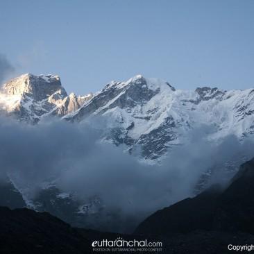 Snow covered Kedar and Kedar dome peaks