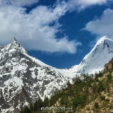 Beautiful snow mountain view from Gangotri